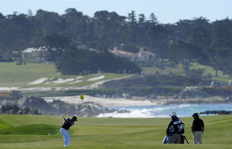 PEBBLE BEACH, CA - FEBRUARY 10:  Jonathan Byrd plays a shot during the first round of the AT&T Pebble Beach National Pro-Am at Monterey Peninsula Country Club on February 10, 2011  in Pebble Beach, California.  (Photo by Stuart Franklin/Getty Images)