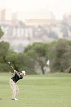Simon Khan during the first round of the 2005 Open De Madrid at the Campo De Golf in Madrid, Spain on October 13, 2005.Photo by Pete Fontaine/WireImage.com