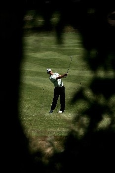 MELBOURNE, AUSTRALIA - NOVEMBER 24:  Aaron Baddeley of Australia plays his second shot on the 14th hole during round three of the MasterCard Masters at Huntingdale Golf Course on November 24, 2007 in Melbourne, Australia.  (Photo by Quinn Rooney/Getty Images)