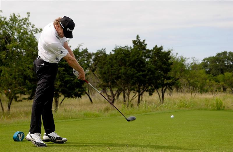 SAN ANTONIO, TX - MAY 15:  James Driscoll tees off the 8th hole during the second round of the Valero Texas Open at the TPC San Antonio on May 15, 2010 in San Antonio, Texas. (Photo by Marc Feldman/Getty Images)