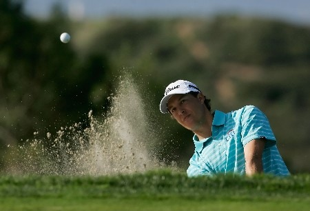 LA JOLLA, CA - JANUARY 26:  Parker McLachlin hits a bunker shot to the 17th green during the third round of the Buick Invitational at the Torrey Pines Golf Course January 26, 2008 in La Jolla, California.  (Photo by Jeff Gross/Getty Images)