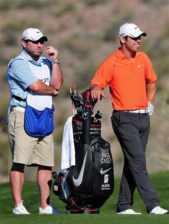 MARANA, AZ - FEBRUARY 28:  Paul Casey of England and caddie Craig Connelly on the seventh hole during the quarter final round of Accenture Match Play Championships at Ritz - Carlton Golf Club at Dove Mountain on February 28, 2009 in Marana, Arizona.  (Photo by Stuart Franklin/Getty Images)