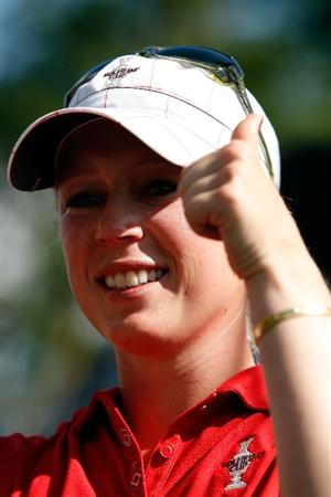 SUGAR GROVE, IL - AUGUST 23:  Morgan Pressel gives a thumbs up on the 16th green after clinching the 2009 Solheim Cup for the U.S. Team against the European Team during the Sunday singles matches at Rich Harvest Farms on August 23, 2009 in Sugar Grove, Illinois.  (Photo by Chris Graythen/Getty Images)