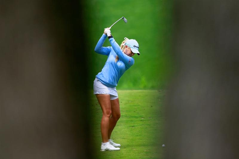 GLADSTONE, NJ - MAY 19:  Natalie Gulbis hits her tee shot on the eighth hole during round one of the Sybase Match Play Championship at Hamilton Farm Golf Club on May 19, 2011 in Gladstone, New Jersey.  (Photo by Chris Trotman/Getty Images)