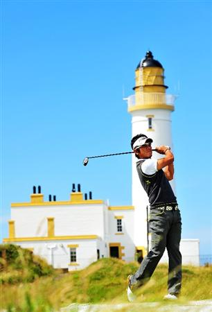 TURNBERRY, SCOTLAND - JULY 13:  Azumo Yano of Japan plays off the 10th tee during the practice round of the 138th Open Championship on July 13, 2009 on the Ailsa Course, Turnberry Golf Club, Turnberry, Scotland.  (Photo by Stuart Franklin/Getty Images)