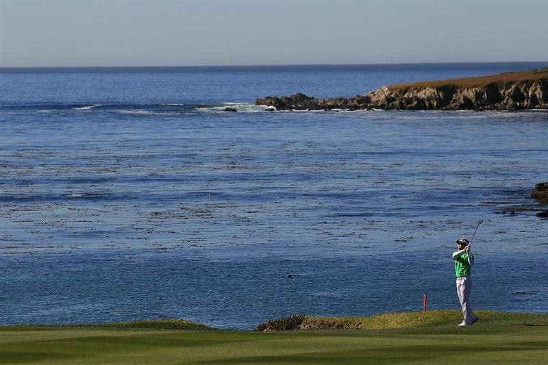 PEBBLE BEACH, CA - FEBRUARY 10:  Brian Gay hits from the fourth fairway at the AT&T Pebble Beach National Pro-Am- Round One at the Pebble Beach Golf Links on February 10, 2011 in Pebble Beach, California. (Photo by Jed Jacobsohn/Getty Images)