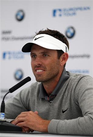 VIRGINIA WATER, ENGLAND - MAY 24:  Charl Schwartzel of South Africa talks to the media in his press conference during a practice day for the BMW PGA Championship at Wentworth Club on May 24, 2011 in Virginia Water, England.  (Photo by Richard Heathcote/Getty Images)