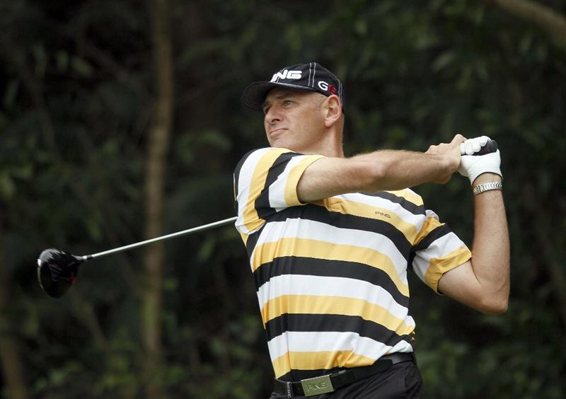 SHENZHEN, CHINA - MARCH 12:  Peter Fowler of Australia in action during the second round of the ISPS Handa Senior World Championship presented by Mission Hills China and played on the World Cup Course, Mission Hills on March 12, 2011 in Shenzhen, Guangdong.  (Photo by Phil Inglis/Getty Images)