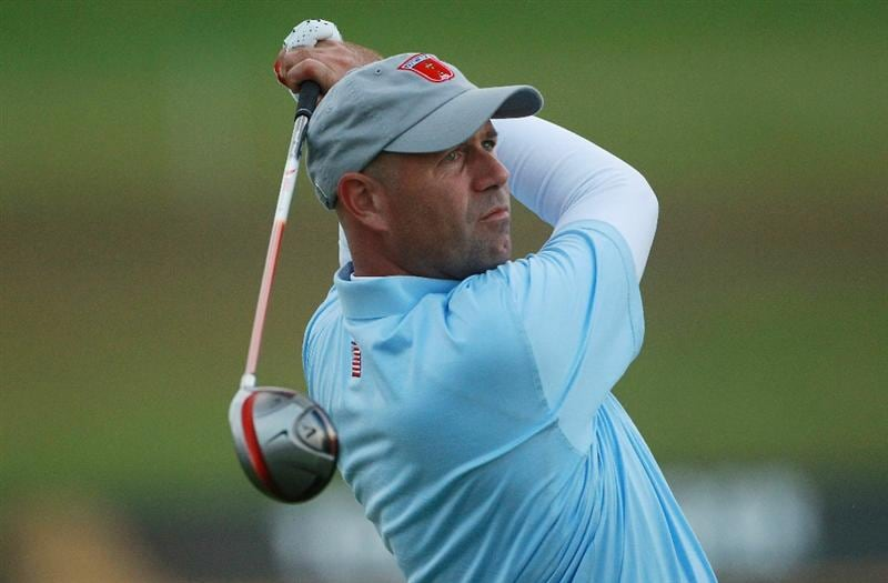 NEWPORT, WALES - OCTOBER 01:  Stewart Cink of the USA tees off on the 11th hole during the Morning Fourball Matches during the 2010 Ryder Cup at the Celtic Manor Resort on October 1, 2010 in Newport, Wales.  (Photo by Andrew Redington/Getty Images)