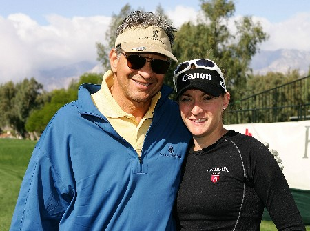 RANCHO MIRAGE, CA - MARCH 27:  Actor Ed Marinaro poses with LPGA player Brittany Lang during the pro-am at the Kraft Nabisco Championship at Mission Hills Country Club on March 27, 2007 in Rancho Mirage, California.  (Photo by Scott Halleran/Getty Images)