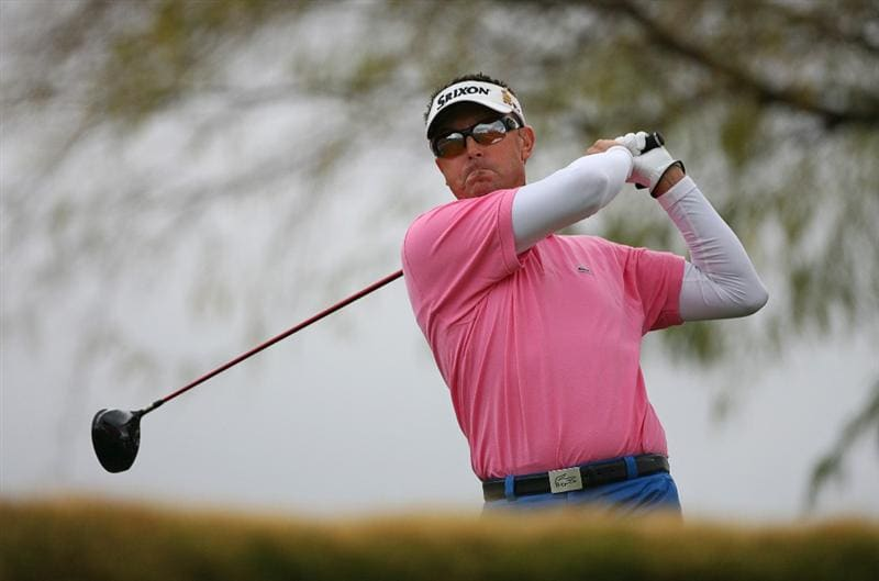 SCOTTSDALE, AZ - FEBRUARY 28: Robert Allenby of Australia hits his tee shot on the third hole during the final round of the Waste Management Phoenix Open at TPC Scottsdale on February 28, 2010 in Scottsdale, Arizona. (Photo by Hunter Martin/Getty Images)