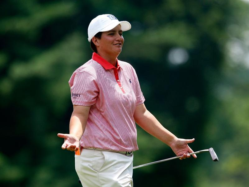 BETHLEHEM, PA - JULY 10:  Meaghan Francella, who finished her round playing alone, walks off the eighth green during the second round of the 2009 U.S. Women's Open at the Saucon Valley Country Club on July 10, 2009 in Bethlehem, Pennsylvania.  (Photo by Scott Halleran/Getty Images)