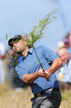 TURNBERRY, SCOTLAND - JULY 19:  Matthew Goggin of Australia hits out of the rough on the 3rd hole during the final round of the 138th Open Championship on the Ailsa Course, Turnberry Golf Club on July 19, 2009 in Turnberry, Scotland.  (Photo by Stuart Franklin/Getty Images)