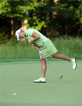 HAVRE DE GRACE, MD - JUNE 08:  Maria Hjorth of Sweden just misses a putt to win at the second hole (the 16th hole) in the sudden death play-off with Yani Tseng of Taiwan after the final round of the 2008 McDonald's LPGA Championship held at Bulle Rock Golf Course, on June 8, 2008 in Havre de Grace, Maryland.  (Photo by David Cannon/Getty Images)