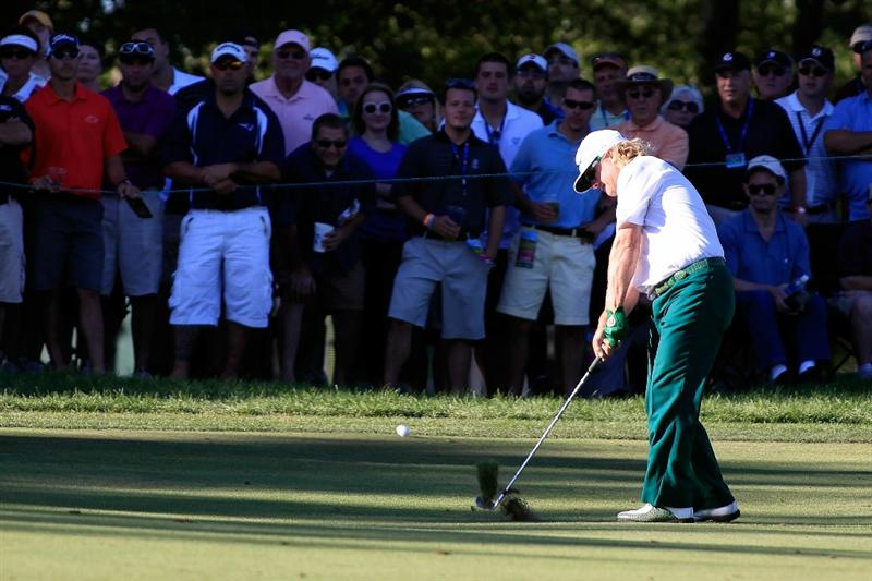 NORTON, MA - SEPTEMBER 06:  Charley Hoffman hits a shot on the 17th hole during the final round of the Deutsche Bank Championship at TPC Boston on September 6, 2010 in Norton, Massachusetts.  (Photo by Michael Cohen/Getty Images)