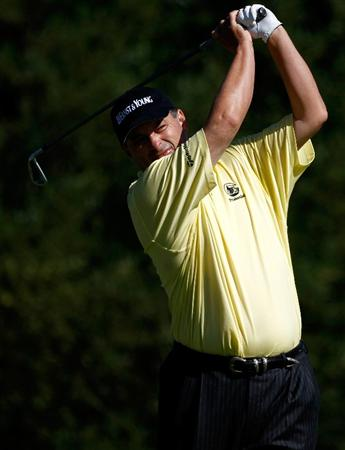 SUNRIVER, OR - AUGUST 21:  Loren Roberts tees off on the 7th hole during the second round of the Jeld-Wen Tradition on August 21, 2009 at Crosswater Club at Sunriver Resort in Sunriver, Oregon.  (Photo by Jonathan Ferrey/Getty Images)