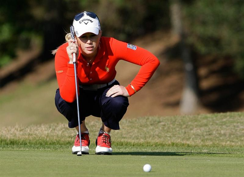 SHIMA, JAPAN - NOVEMBER 06:  Morgan Pressel of United States lines up a putt on the 16th during round two of the Mizuno Classic at Kintetsu Kashikojima Country Club on November 6, 2010 in Shima, Japan.  (Photo by Chung Sung-Jun/Getty Images)