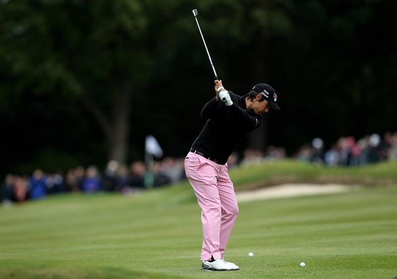 VIRGINIA WATER, ENGLAND - MAY 28:  Matteo Manassero of Italy hits his 2nd shot on the 6th hole during the third round of the BMW PGA Championship at the Wentworth Club on May 28, 2011 in Virginia Water, England.  (Photo by Ian Walton/Getty Images)