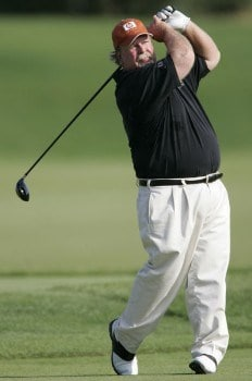 Craig Stadler watches his tee shot on the par five 18th hole during his final round of the 3M Championship, August 7, 2005, held at the TPC of the Twin Cities, Blaine, Minnesota. Stadler finished one shot back of Tom Purtzer to tie for second place.Photo by Gregory Shamus/WireImage.com