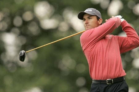 Ignacio Garrido watches his tee shot during the rain delayed first round of the 2005 Deutsche Bank Players' Championship at Gut Kaden Golf Club in Hamburg, Germany on July 22, 2005.Photo by Pete Fontaine/WireImage.com