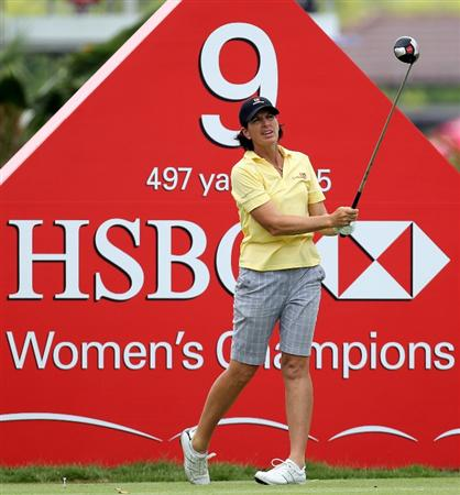 SINGAPORE - FEBRUARY 27:  Juli Inkster of the USA during the third round of the HSBC Women's Champions at the Tanah Merah Country Club on February 27, 2010 in Singapore.  (Photo by Ross Kinnaird/Getty Images)