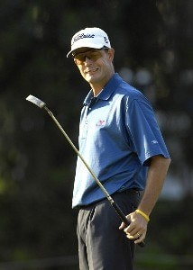 Stephen Leaney reacts to his missed putt on the 16th hole during the second round of the PODS Championship held on the Copperhead Course at Innisbrook Resort & Golf Club in Tampa Bay, Florida, on March 9, 2007. PGA TOUR - 2007 PODS Championship - Second RoundPhoto by Fred Vuich/WireImage.com