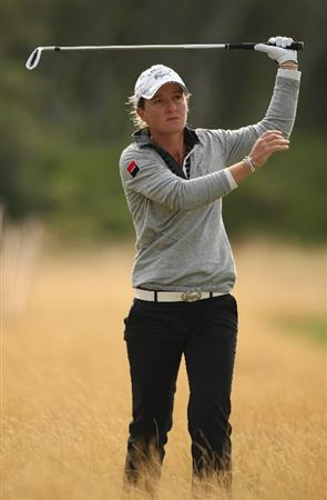 LYTHAM ST ANNES, UNITED KINGDOM - JULY 31:  Gwladys Nocera of France reacts to her second shot on the 11th hole during the second round of the 2009 Ricoh Women's British Open Championship held at Royal Lytham St Annes Golf Club, on July 31, 2009 in  Lytham St Annes, England. (Photo by Warren Little/Getty Images)
