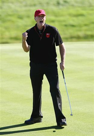NEWPORT, WALES - OCTOBER 04:  Steve Stricker of the USA celebrates a putt on the 15th green in the singles matches during the 2010 Ryder Cup at the Celtic Manor Resort on October 4, 2010 in Newport, Wales. (Photo by Ross Kinnaird/Getty Images)