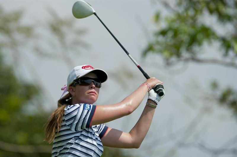 CHON BURI, THAILAND - FEBRUARY 19:  Paula Creamer of USA tees off on the 3rd hole during day three of the LPGA Thailand at Siam Country Club on February 19, 2011 in Chon Buri, Thailand.  (Photo by Victor Fraile/Getty Images)