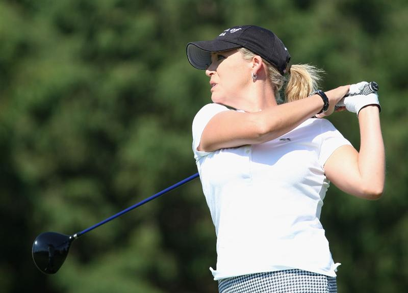 SPRINGFIELD, IL - JUNE 04:  Cristie Kerr hits a tee shot on the sixth hole during the first round of the LPGA State Farm Classic golf tournament at Panther Creek Country Club on June 4, 2009 in Springfield, Illinois.  (Photo by Christian Petersen/Getty Images)