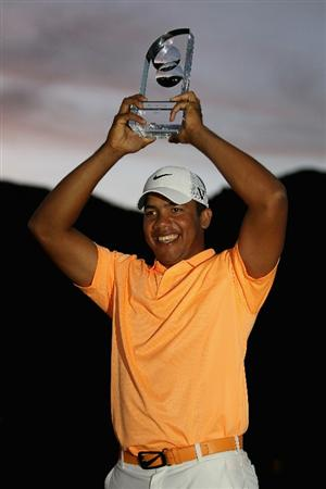LA QUINTA, CA - JANUARY 23:  Jhonattan Vegas of Venezuela poses with the trophy after winning the Bob Hope Classic at the Palmer Private course at PGA West on January 23, 2011 in La Quinta, California.  (Photo by Jeff Gross/Getty Images)
