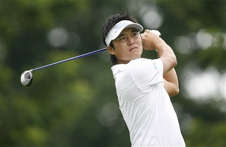 BETHESDA, MD - JULY 4: Ryuji Imada of Japan hits his tee shot on the 12th hole during the second round of the AT&T National at Congressional Country Club on July 4, 2008 in Bethesda, Maryland. (Photo by Hunter Martin/Getty Images)