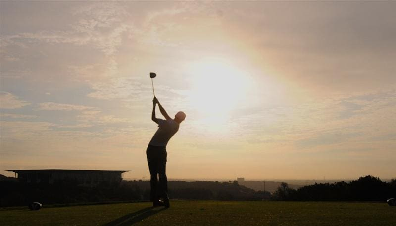SAN ANTONIO,TX - OCTOBER 10: Jesper Parnevik  tees off the 5th hole during the second round of the Valero Texas Open  held at La Cantera Golf Club on October 10, 2008 in San Antonio, Texas  (Photo by Marc Feldman\Getty Images)