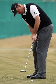 DELHI, INDIA - FEBRUARY 07:  Thomas Bjorn of Denmark putts at the 5th hole during the first round of the Emaar-MGF Indian Masters at the Delhi Golf Club on February 7, 2008 in Delhi, India.  (Photo by David Cannon/Getty Images)