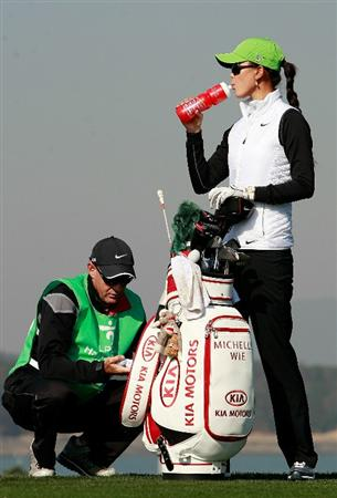 INCHEON, SOUTH KOREA - OCTOBER 29:  Michelle Wie (R) of United States takes a drink on the 13th hole during the 2010 LPGA Hana Bank Championship at Sky 72 golf club on October 29, 2010 in Incheon, South Korea.  (Photo by Chung Sung-Jun/Getty Images)
