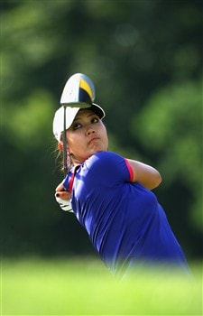 MUNICH, GERMANY - MAY 30: Michelle Wie of USA plays her tee shot on the fifth hole during the second round of the Hypo Vereinsbank Ladies German Open Golf at Golfpark Gut Hausern on May 30, 2008 near Munich, Germany.  (Photo by Stuart Franklin/Bongarts/Getty Images)