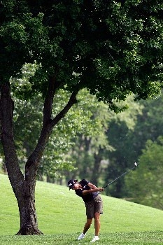 BROKEN ARROW, OK - MAY 04:  Sherri Steinhauer makes a shot from the fairway on the 17th hole during the first round of the SemGroup Championship presented by John Q. Hammons on Friday May 4, 2007 at Cedar Ridge Country Club in Broken Arrow, Oklahoma.  (Photo by Chris Graythen/Getty Images)