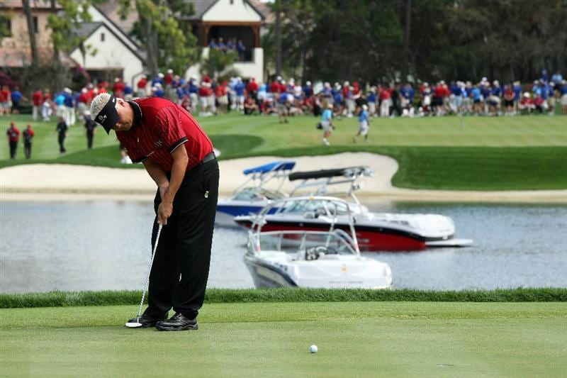 ORLANDO, FL - MARCH 17:  Daniel Chopra of Sweden and the Isleworth team putts on the fifth hole during the second day of the 2009 Tavistock Cup at the Lake Nona Golf and Country Club, on March 17, 2009 in Orlando, Florida  (Photo by David Cannon/Getty Images)