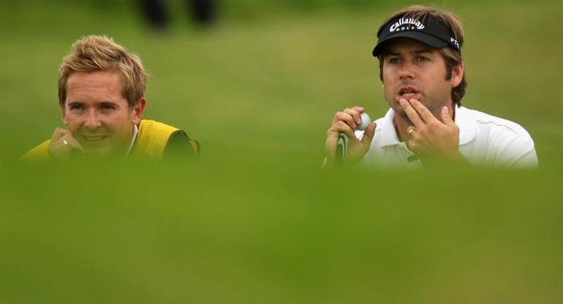 PERTH, UNITED KINGDOM - AUGUST 30:  Robert Rock of England on the par five 2nd hole during the third round of The Johnnie Walker Championship at Gleneagles on August 30, 2008 at the Gleneagles Hotel and Resort in Perthshire, Scotland.  (Photo by Ross Kinnaird/Getty Images)