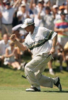 TULSA, OK - AUGUST 12:  Woody Austin celebrates his birdie putt on the 12th green during the final round of the 89th PGA Championship at the Southern Hills Country Club on August 12, 2007 in Tulsa, Oklahoma.  (Photo by Streeter Lecka/Getty Images)