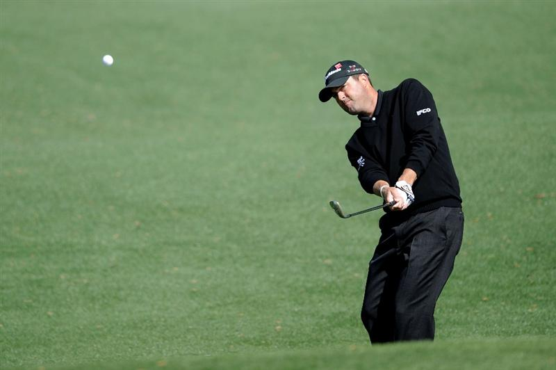 AUGUSTA, GA - APRIL 05:  Ryan Palmer plays a shot during a practice round prior to the 2011 Masters Tournament at Augusta National Golf Club on April 5, 2011 in Augusta, Georgia.  (Photo by Harry How/Getty Images)