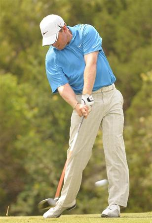 SAN ANTONIO TX. - MAY 15:  Justin Leonard tees off the 18th hole during the second round of  the Valero Texas Open held at La Cantera Golf Club on May 15, 2009 in San Antonio, Texas.  (Photo by Marc Feldman/Getty Images)