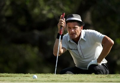 Jesper Parnevik lines up a putt on the 16th hole during the third round of the Valero Texas Open at La Cantera Golf Club October 6, 2007 in San Antonio, Texas. PGA TOUR - 2007 Valero Texas Open - Third RoundPhoto by Jonathan Ferrey/WireImage.com