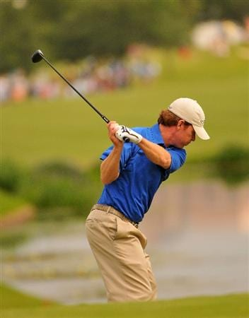 IRVING, TX - MAY 23:  Briny Baird tees off the 4th hole during the third round of the HP Byron Nelson Championship held at the TPC Four Seasons Resort Las Colinas on May 23, 2009 in Irving, Texas.  (Photo by Marc Feldman/Getty Images)