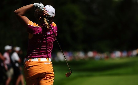 OTTAWA, ON - AUGUST 15:  Annika Sorenstam of Sweden makes a tee shot on the fifth hole during the second round of the CN Canadian Women's Open at the Ottawa Hunt and Golf Club on August 15, 2008 in Ottawa, Ontario, Canada.  (Photo by Robert Laberge/Getty Images)