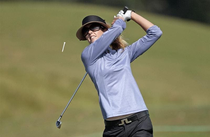 PRATTVILLE, AL - SEPTEMBER 26:   Anna Rawson of Australia hits her tee shot on the 2nd hole during second round play in the Navistar LPGA Classic at the Robert Trent Jones Golf Trail at Capitol Hill on September 26, 2008 in Prattville, Alabama.  (Photo by Dave Martin/Getty Images)