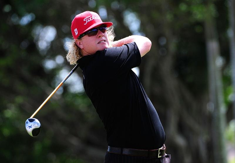 DORAL, FL - MARCH 15:  Charley Hoffman hits a shot on the second hole during the final round of the World Golf Championships-CA Championship at the Doral Golf Resort & Spa March 15, 2009 in Doral, Florida.  (Photo by Sam Greenwood/Getty Images)
