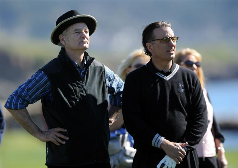 PEBBLE BEACH, CA - FEBRUARY 09:  Actors Bill Murray and Andy Garcia talk together during the 3M Celebrity Challenge at the AT&T Pebble Beach National Pro-Am at Pebble Beach Golf Links on February 9, 2011  in Pebble Beach, California.  (Photo by Stuart Franklin/Getty Images)