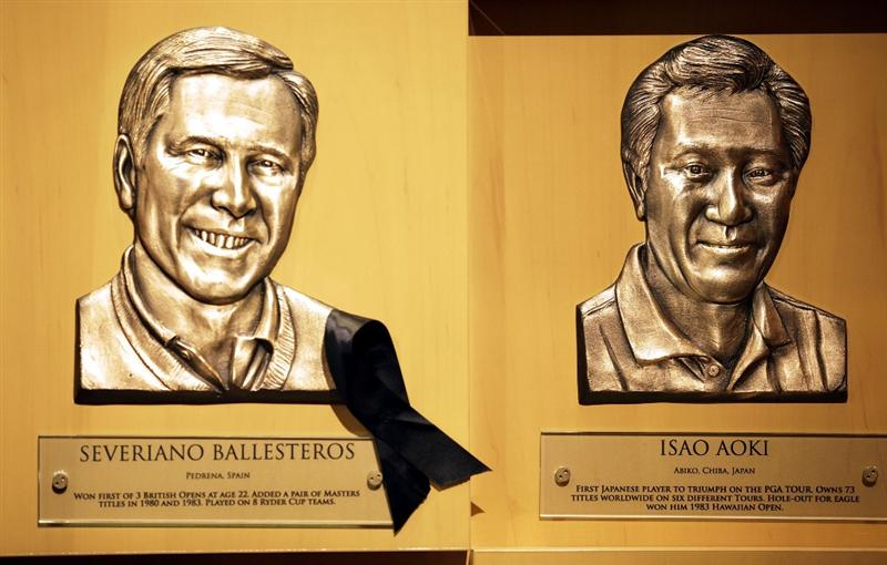 ST AUGUSTINE, FL - MAY 09:  The bust of  PGA Hall of Fame golfer Seve Ballesteros (L) hangs at the World Golf Hall of Fame 2011 Induction Ceremony on May 9, 2011 in St Augustine, Florida.  (Photo by Marc Serota/Getty Images for the World Golf Hall of Fame)