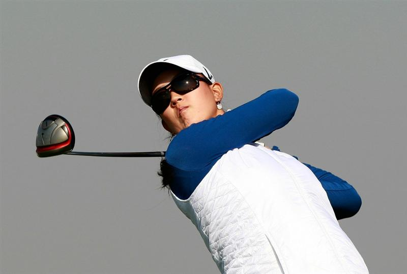 INCHEON, SOUTH KOREA - OCTOBER 30:  Michelle Wie of United States hits a tee shot on the 13th hole during the 2010 LPGA Hana Bank Championship at Sky 72 Golf Club on October 30, 2010 in Incheon, South Korea.  (Photo by Chung Sung-Jun/Getty Images)